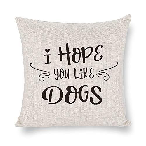 Byron Hoyle I Hope You Like Dogs Funda de cojín, Welcome Matthrow funda de cojín, lino rústico decorativo para silla, habitación, sofá, coche, decoración del hogar, regalo de inauguración de la casa, 45,7 x 45,7 cm