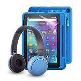 """Fire HD 8 Kids Pro-Tablet (kindgerechte Hülle mit """"Raumschiffe""""-Design) + BuddyPhones PopTime-Bluetooth-Headset (blau, Altersklasse: 8-15 Jahre) + NuPro-Bildschirmschutzfolie (2er-Pack)"""
