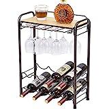 TOOLF 8 Bottle Wine Rack Freestanding Floor, Metal Wine Storage Shelf with Glasses Holder & Table Top, 4 Tier Wine Display Organiser, for Home Decor, Cellar, Bar, Countertop, Cabinet