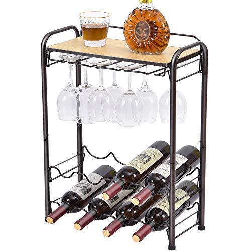 Kingrack Estante de metal para 8 botellas de vino, estante de vino con soporte para copas y soporte para vino y mesa, organizador de almacenamiento de vino de 4 niveles, soporte de vino para cocina