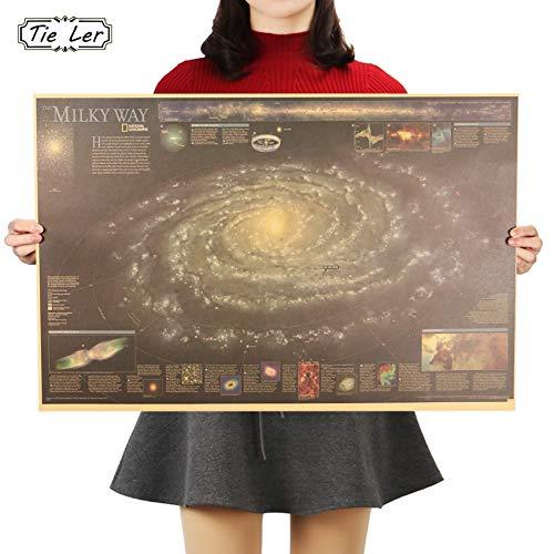 BLOUR Tie LER Milky Way Nebula Map Nostálgico Vintage Kraft Paper Poster Decoración Pintura Pegatinas de Pared 72.5X48.5cm
