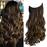 REECHO Halo Hair Extensions with Invisible Transparent Wire Adjustable Size Removable Secure Clips in Curly Wavy Hidden Crown Secret Hairpiece for Women 20 Inch 5.0 Oz -Chestnut Brown with Blonde Hightlights