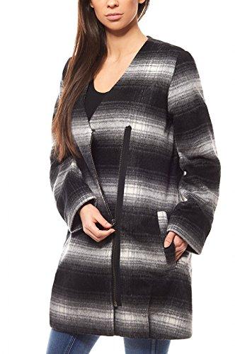 Laura Scott Jacke Damen Woll-Jacke Outdoor-Jacke Schwarz mit großen Taschen, Größenauswahl:34