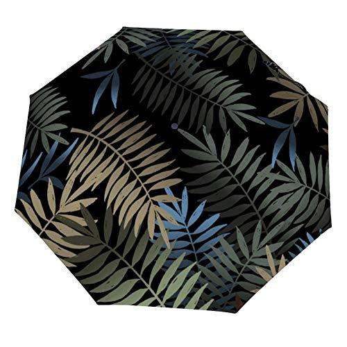 Faltbarer manueller Regenschirm, schwarze Palmblatt-Pflanze, Retro-Stil, tropischer Sonnenschutz, leicht, faltbar (Vinyl innen)
