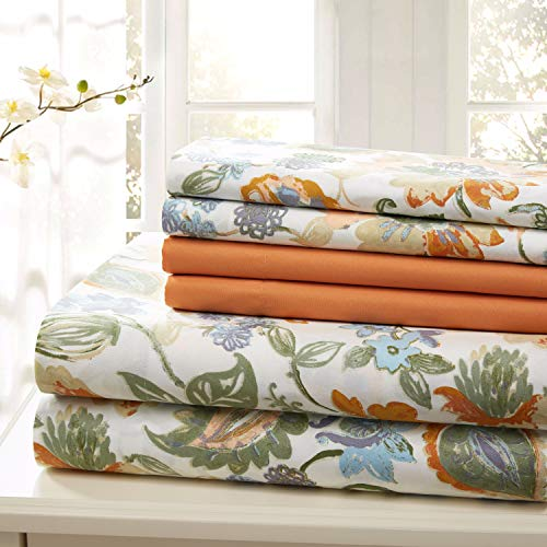 Traditional Home Sheet Set Cotton Percale 6 Piece Print Twin Full Queen King Soft Orange Flower Full
