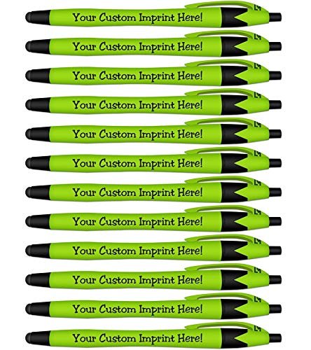 Rubberized Soft Touch Personalized Ink Pens with Stylus - Click action - Custom - Black writing - Printed Name - Imprinted with Your Logo/Message - FREE PERZONALIZATION - 12 Pens/Box (Light Green)