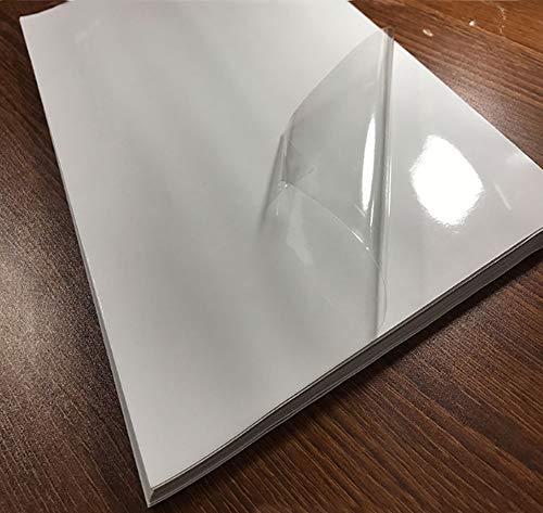 25 fogli di carta adesiva trasparente stampabile in vinile, formato A4 (21 x 29,7 cm), impermeabile, per stampanti a getto d'inchiostro/laser