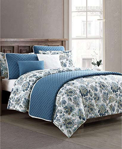 Hallmart Collectibles Vina 8 Piece Floral California King Comforter and Quilt Set Ivory/Blue
