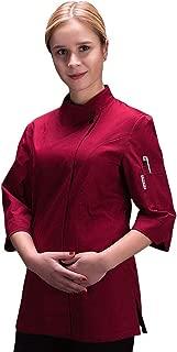 Women's Chef-Coat 3/4 Sleeve Concealed Snap Chef Work Uniform Chef Jacket