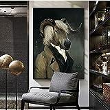 Pintura decorativa Carteles e impresiones artísticos en lienzo de cabra Retro nórdico, pinturas en lienzo del Conde de la cabra en la pared, cuadro artístico para decoración de pared 50x75cm