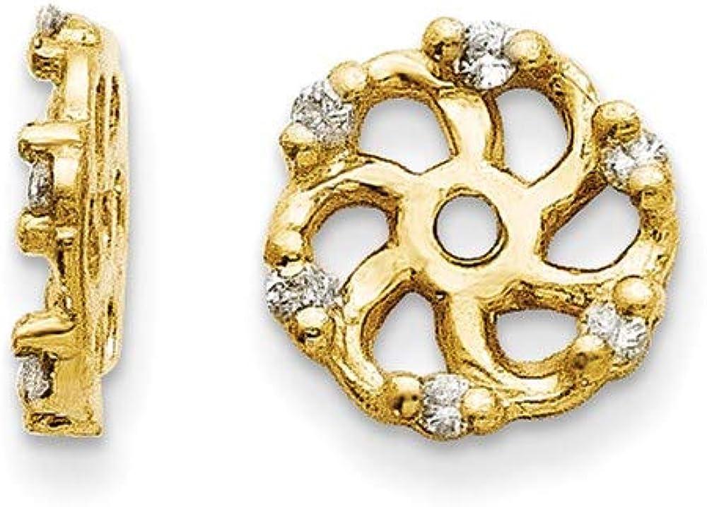 Earrings 14K Yellow Gold Jackets & Enhancers Women'S Diamond Round 7 mm 8