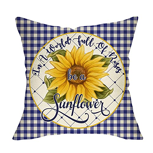 Softxpp in a World Full of Rose be a Sunflower Summer Decorative Throw Pillow Cover, Blue White Buffalo Plaid Check Flower Cushion Case, Fall Farmhouse Home Decorations Decor for Sofa Couch 18 x 18