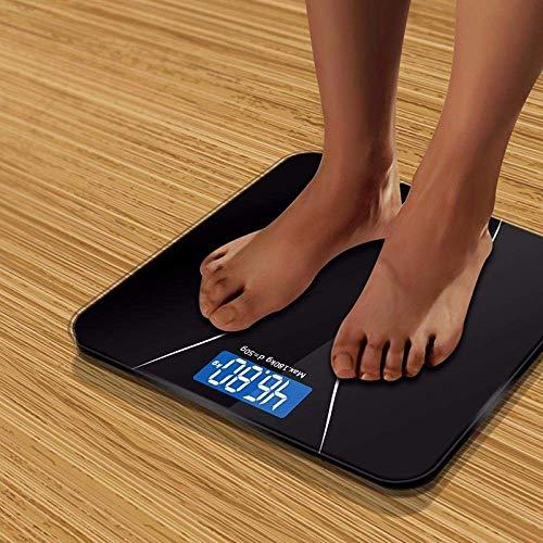 PYROJEWEL Con un Peso báscula de baño de la Escala, Peso Corporal del Balance del hogar Inteligente electrónica Digital, Vidrio Templado, Pantalla LCD, 180Kg, Negro
