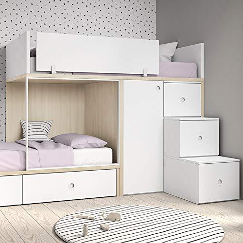 Meubles ROS Etagenbett mit 2 Schubladen, Schrank 1 Tür und Treppe mit 3 Schubkästen – 181,1x328,4x103,4 cm – Nevada/Rosa
