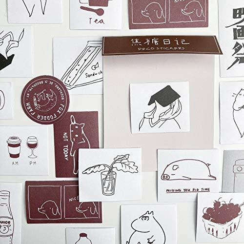 TNYKER シール フレークシール 手帳ステッカー 手描き イラスト 韓国風 スケジュール 手帳 ノート 手紙 カレンダー シンプル おしゃれ かわいい 60枚セット あずきいろ
