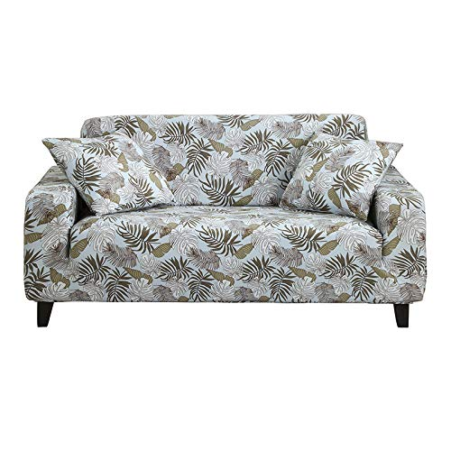 HOTNIU Stretch Sofa Cover Printed Couch Covers Loveseat Slipcovers for 2 Cushion Couches Sofas Elastic Universal Furniture Protector with One Free Pillowcase (Medium, Light Blue Palm)