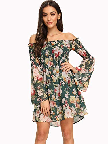 Romwe Women's Sexy Off Shoulder Dress Floral Print A Line Fit and Flare Mini Dress Green XS