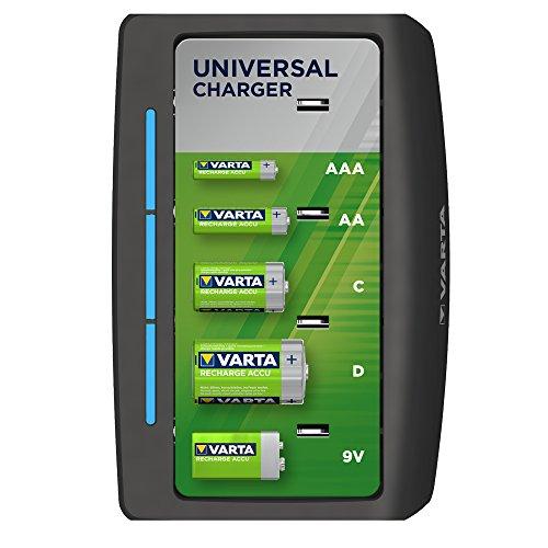 VARTA Cargador universal - Indicador de carga led - Apagado automático de seguridad - Diseño exclusivo de VARTA - Cargas 2 o 4 pilas NiMH AA, AAA, C, D, o una pila de 9 V al mismo tiempo - sin pilas