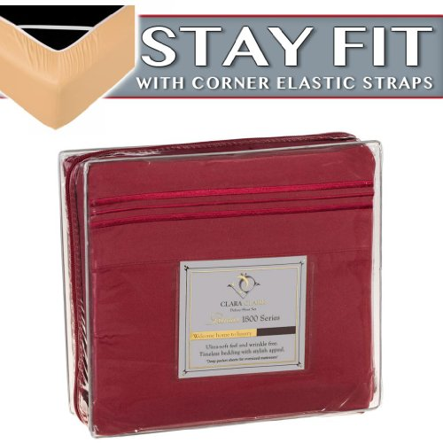 Clara Clark 1800 Series Bed Sheet Sets - Stay fit on Mattress with Elastic Straps at Corners - Cal King Size, Burgundy Red
