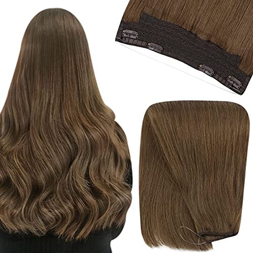 YoungSee Human Hair Wire Extensions 14inch Wire Real Hair Extensions Clip in Human Hair Auburn Brown Wire Human Hair...