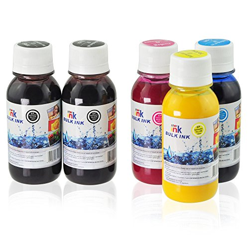 Starink Anti-UV Sublimation Ink Bottle Replacement for Workforce C88 1400 XP420 Printer Heat Transfer Printing, Refillable Cartridge and CISS (2 BK 1 C 1 M 1 Y, 5 Bottles, Non-OEM)