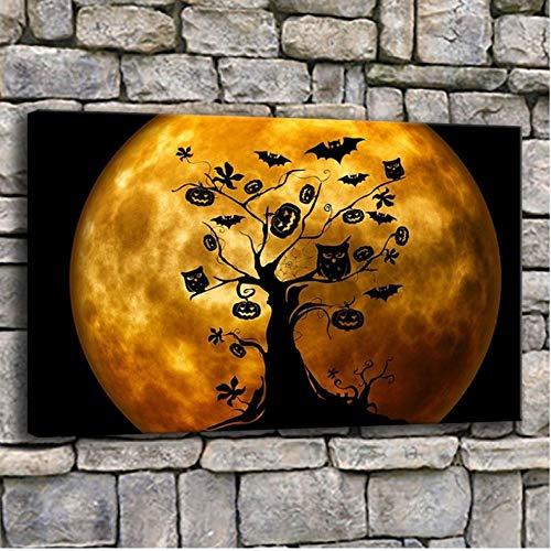 Rjunjie canvas schilderij muurkunst Halloween heks op bezem oranje foto's voor de woonkamer druk uilen en vleermuizen poster wooncultuur (60x100 cm geen lijst)