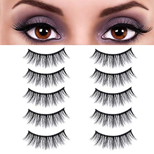 False Eyelashes Faux Mink Handmade Reusable Eyelashes Messy 5 Pairs Fluffy Volume Soft Natural Eyelashes Lashes
