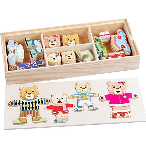 72 pezzi Giocattoli Educativi Legno Puzzle Puzzle in legno Vesti la famiglia Orsi per Vesti Famiglia Orso Giochi di Puzzle della bambini