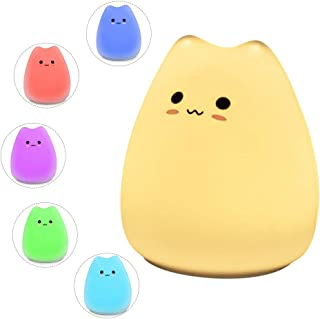 Goblinaduo Cat Night Lamp Cute Night Light for Kids Baby Soft Silicone Bedside Lamp for Breastfeeding Rechargeable 7 Color...