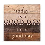 NIKKY HOME 12 Inches Decorative Inspirational Wooden Wall Art Quote Signs Today is A Good Day for A Good Day