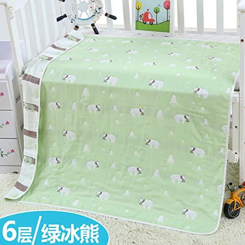 Sijihua Serviette de bain pour bébé en coton pur 6 couches, Green Bear, 120 x 150cm