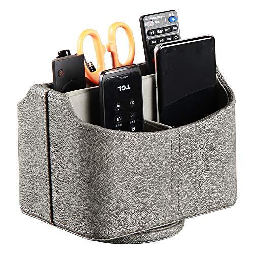 Caja de almacenamiento giratoria de piel sintética de 360 grados para mando a distancia/controlador, guía de televisión/correo electrónico/caja de almacenamiento de escritorio, mesita de noche
