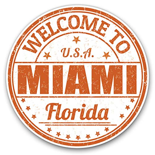 Vinyl Stickers (Set of 2) 10cm - Miami Florida USA Travel Stamp Decals for Laptops,Tablets,Luggage,Scrap Booking,Fridges, 5219