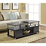 Altra Carson Espresso Coffee Table Featuring Open Cabinets and Shelves