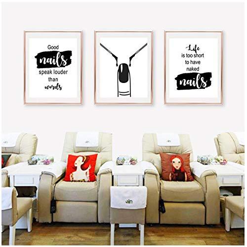 Woplmh Nail Art Beauty Salon wanddecoratie nail salon muurkunst canvas schilderij nagellak poster en afdrukken Nail Tech Artist cadeau-50x70cmx3Pcs (geen lijst)