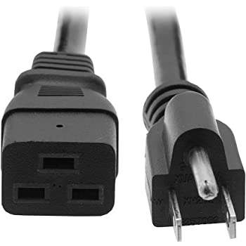 SuperEcable C19 to C20 20A 250V Black Color Power Extension Cord 3 Ft UL 14Awg