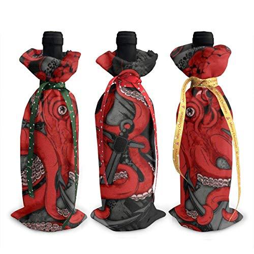 3 fundas para botella de vino, pulpo y ancla, decoración de decoración, bolsas de mesa, decoración para fiestas de Navidad, cena, regalo