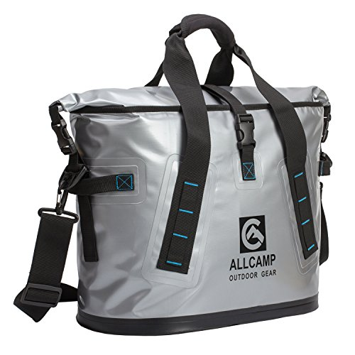 ALLCAMP OUTDOOR GEAR TLC14002A1MN ALLCAMP Hopper Portable Cooler Bag 25L with 5 ice Pack boxs Silv, Large, Solid Silver