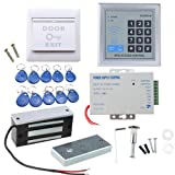 Door Access Control System, AGPtEK RFID Home Security Kit with 60kg 130LB Electromagnetic Lock, Power Supply, Proximity Door Entry keypad 10 Key Fobs EXIT Button