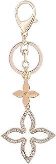 【InfoMine】バッグチャーム チェーン ハート スター キー カギ フラワー キーホルダー キラキラ レディース クリスタル flower gold keychain (フラワー)