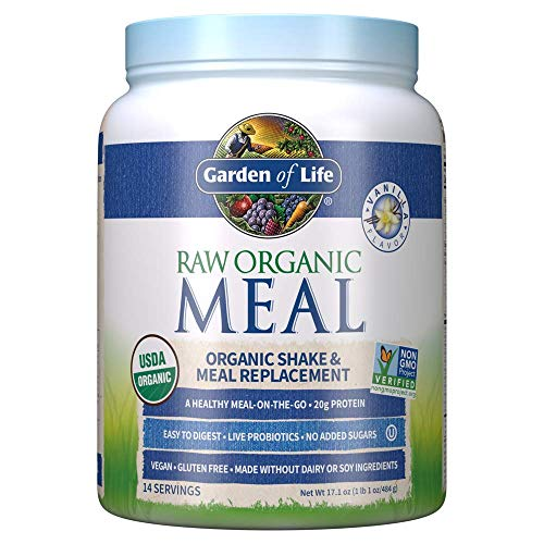Garden of Life Raw Organic Meal Replacement Powder - Vanilla, 14 Servings, 20g Plant Based Protein Powder, Superfoods, Greens, Vitamins Minerals Probiotics & Enzymes All-in-One Meal Replacement Shake