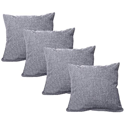UNIAI Pillow Case Throw Pillow Cover Cushions Covers 22x22 Inch/55x55cm - 4 Pack Home Decorative Solid Square Pillowcase, Handmade with Invisible Zipper, Car, Camping, Office