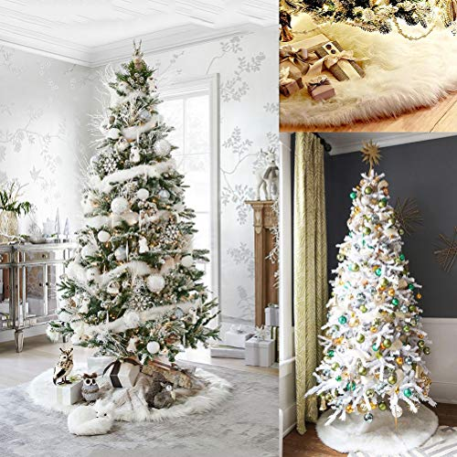 WINOMO Plüsch Baumdecke Weihnachtsbaum Rock Weiße Baumrock Weihnachtsbaumdecke Unterlegdecke Tannenbaum Teppich Weihnachtsdecke Christbaum Schürze Wrap Bodendekoration Weihnachtsschmuck