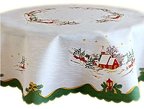Markenlos Tischdecke Weihnachten rund 135 cm Weiß Bunt Winterland pflegeleicht Tafeltuch Tischtuch