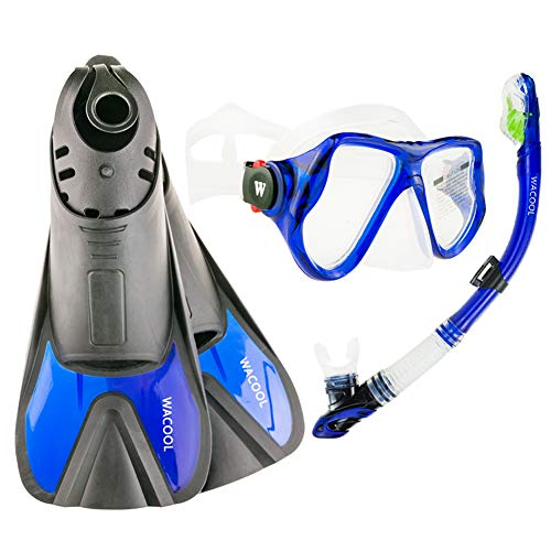 WACOOL Snorkeling Package Set for Adults, Anti-Fog Coated Glass Diving Mask, Snorkel with Silicon Mouth Piece,Purge Valve and Anti-Splash Guard w/Travel Short Swim Fins (Blue M)