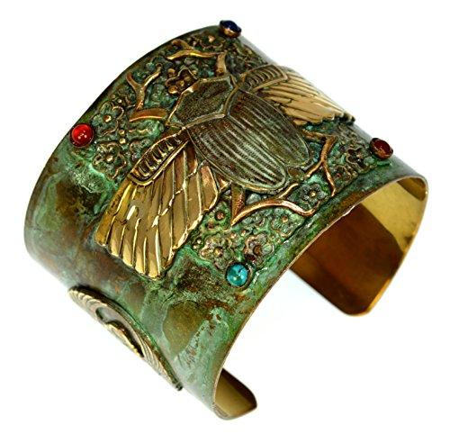Brass Egyptian Scarab Cuff Bracelet