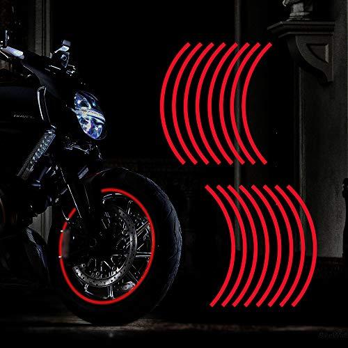 TOMALL Calcomanía Reflectante para Llantas de Ruedas de 17 Pulgadas para Ruedas de Motocicleta Coche Bicicleta Bicicleta Noche Reflectante decoración de Seguridad Raya Universal (Rojo)