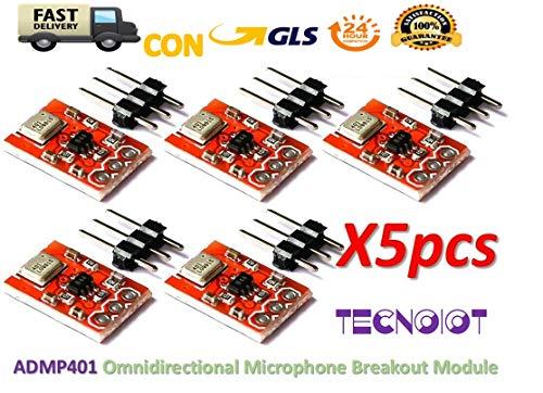 TECNOIOT 5pcs ADMP401 MEMS Omnidirectional Microphone Breakout Module Board