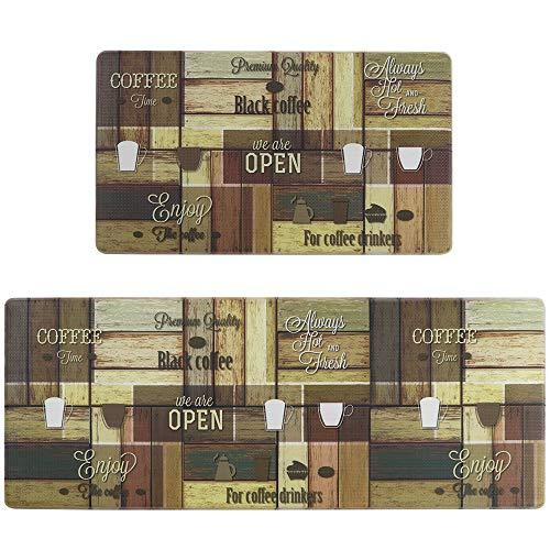 Seavish Anti Fatigue Kitchen Floor Mat Set, Wooden Coffee Shop 2 piece 18