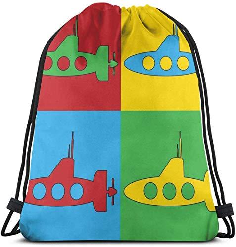 Zaino con coulisse Borsa unisex per viaggi in palestra, trasporto subacqueo stile pop art Galles icone e cornici colorate